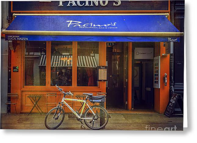 Pacino's Garda Bicycle Greeting Card by Craig J Satterlee