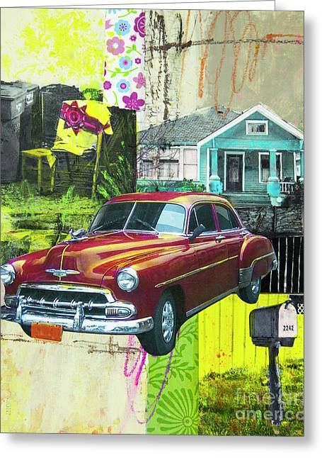 Greeting Card featuring the mixed media Packard by Elena Nosyreva