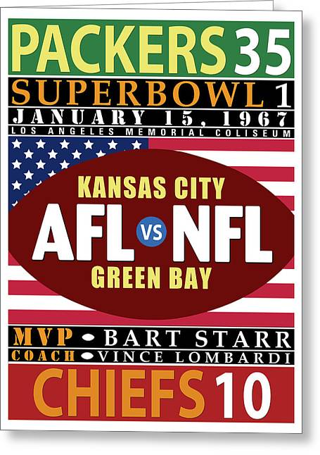 Packers 35 Chiefs 10 Super Bowl 1 Greeting Card