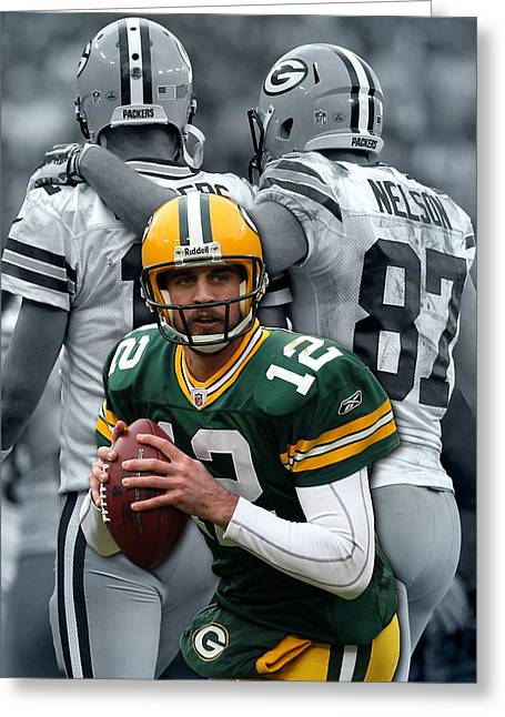 Packers Aaron Rodgers Greeting Card by Joe Hamilton