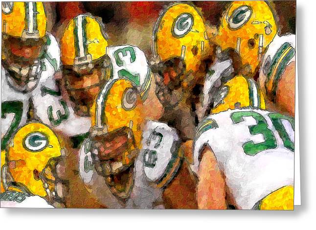 Packers Huddle Up Greeting Card by John Farr
