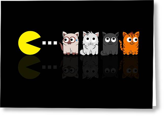 Pacman Meets Kittens Greeting Card by Isaac Stalley