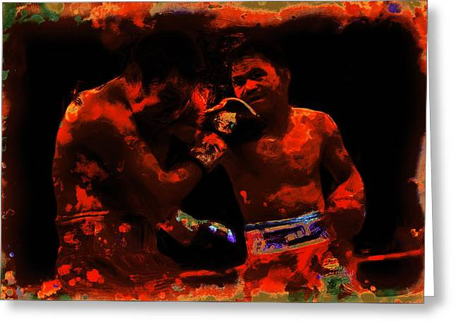 Pacquiao Putting In Work Greeting Card by Brian Reaves