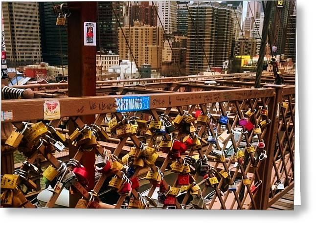 pad lock Brooklyn bridge the  Greeting Card