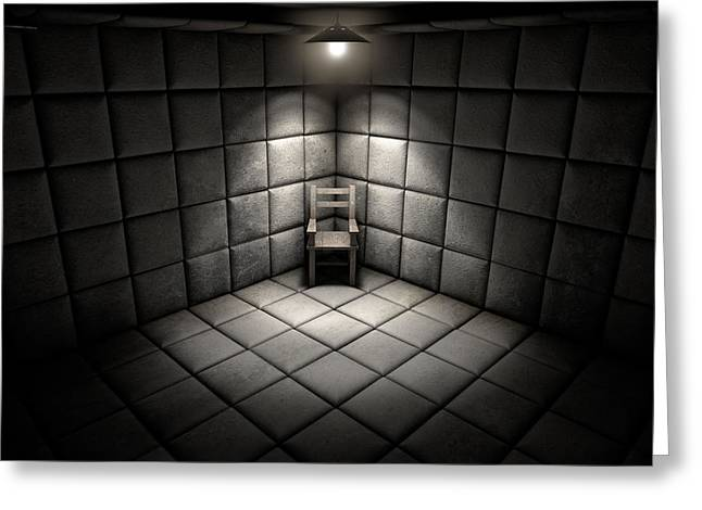 Padded Cell And Empty Chair Greeting Card by Allan Swart