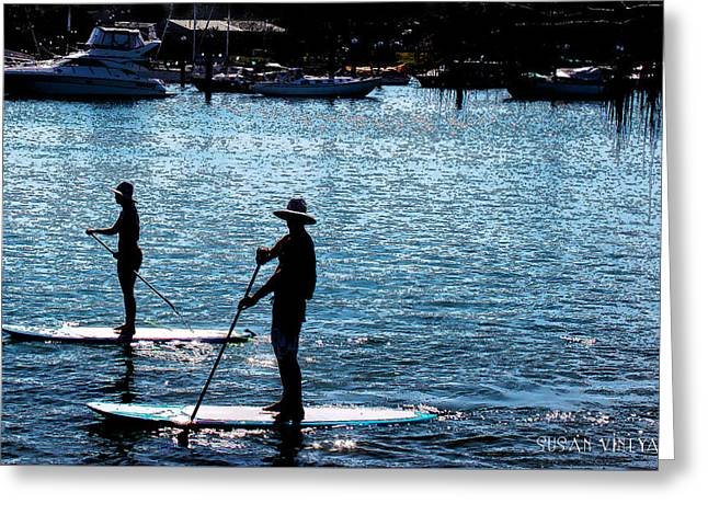 Paddle Boarding In The Marina Greeting Card by Susan Vineyard
