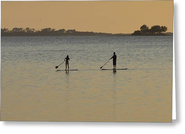 Paddle Boarding On The Gulf Greeting Card