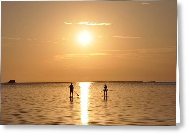 Paddle Boarding Out Of The Sunset Greeting Card by Bill Cannon