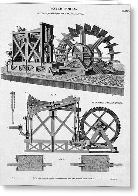 Paddle-driven Beam-engine Suction Pump Greeting Card by Wellcome Images
