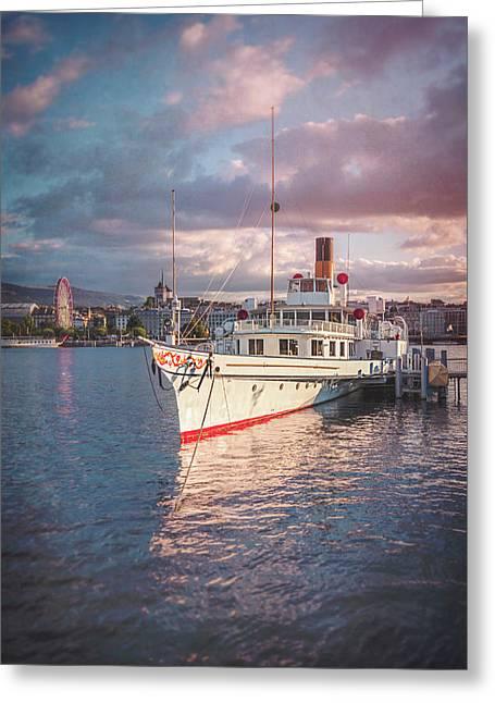 Paddle Steamer Simplon Lake Geneva Switzerland Greeting Card by Carol Japp