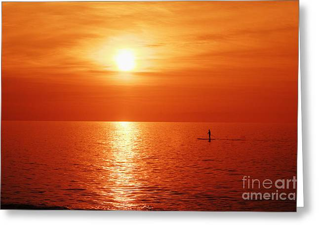 Paddle Surfer Sunset Greeting Card
