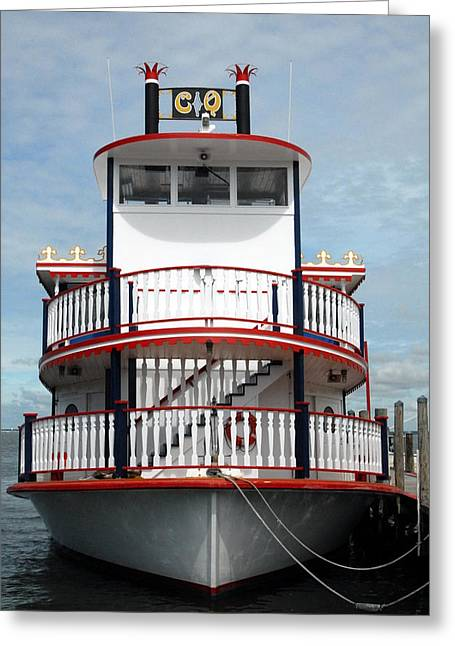 Print; Paddle Steamer Greeting Cards - Paddle Wheel Boat Greeting Card by Joyce StJames