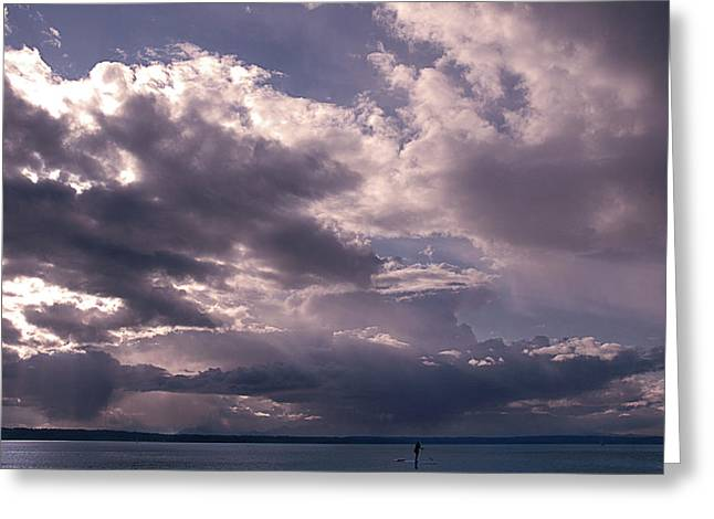 Paddleboarder On Puget Sound Greeting Card by Jeff Burgess