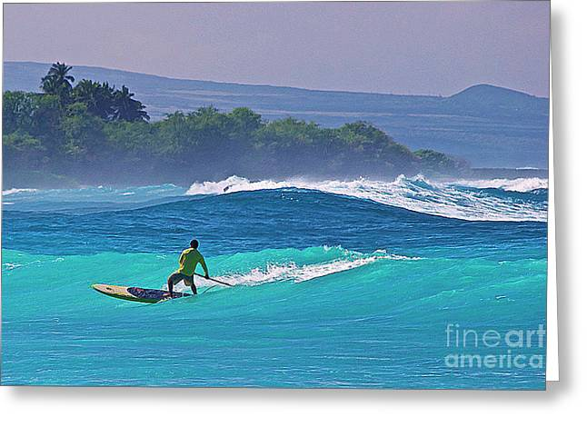 Paddleboarder Rides The Outside Break Greeting Card