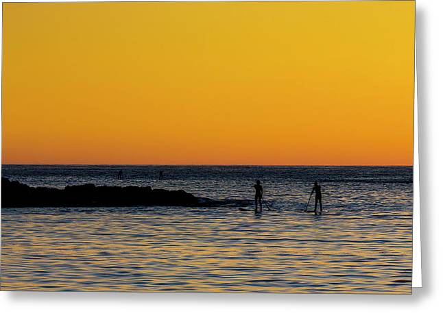 Paddleboarding  - Mackinzie Beach Yellow Sunset Greeting Card by Mark Kiver