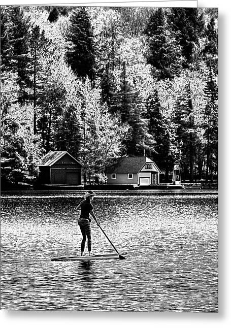 Paddleboarding On Old Forge Pond Greeting Card by David Patterson