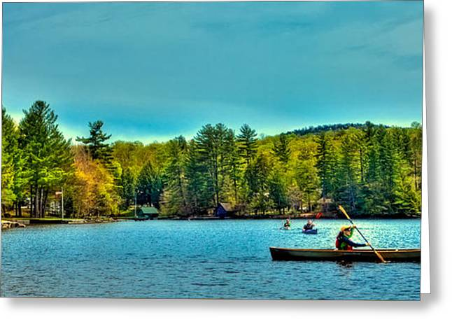 Paddlers On Old Forge Pond 2 Greeting Card by David Patterson