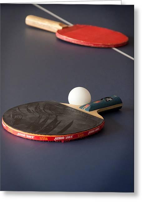 Paddles And Ball Greeting Card