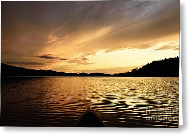 Greeting Card featuring the photograph Paddling At Sunset On Kekekabic Lake by Larry Ricker