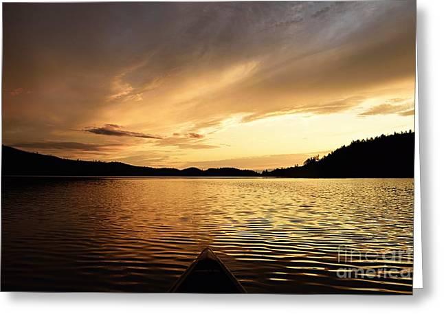 Paddling At Sunset On Kekekabic Lake Greeting Card