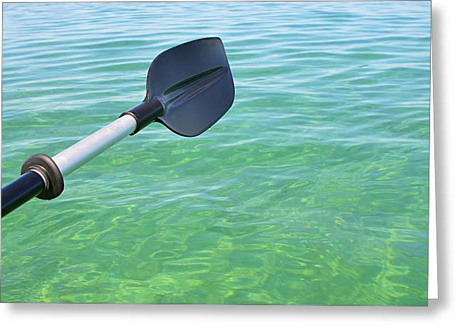 Greeting Card featuring the photograph Paddling Grand Traverse Bay by SimplyCMB