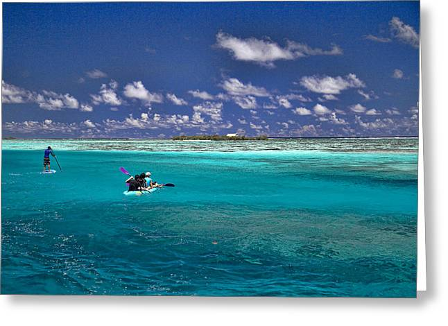 South Pacific Greeting Cards - Paddling in Moorea Greeting Card by David Smith