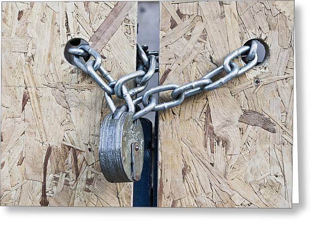 Padlock And Chain Greeting Card by Tom Gowanlock
