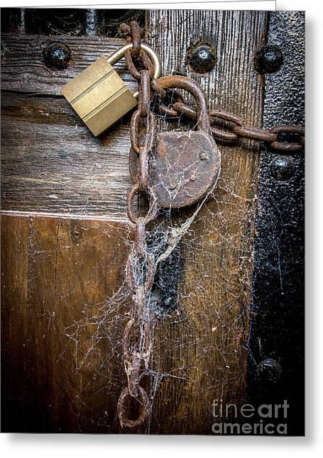 Padlock And Wooden Door Greeting Card
