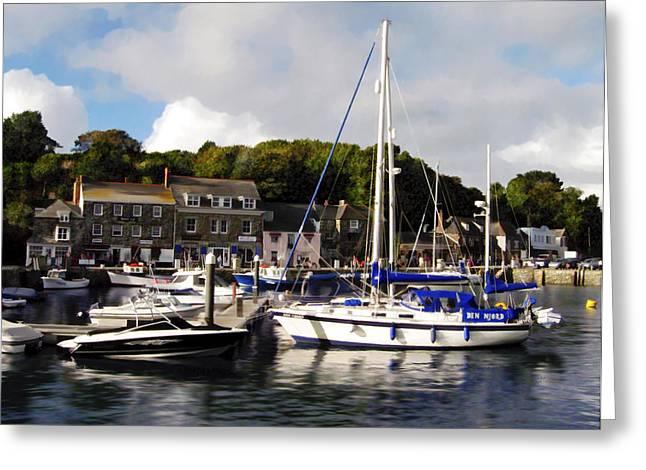 Seaside Digital Greeting Cards - Padstow Harbor Cornwall UK Greeting Card by Kurt Van Wagner