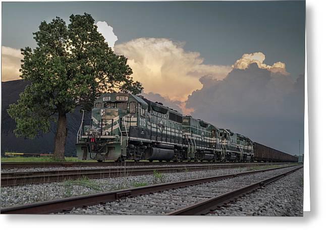 Paducah And Louisville Railway Dpu Coal Train At Calvert City, Ky Greeting Card by Jim Pearson