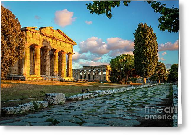 Paestum Road Greeting Card by Inge Johnsson