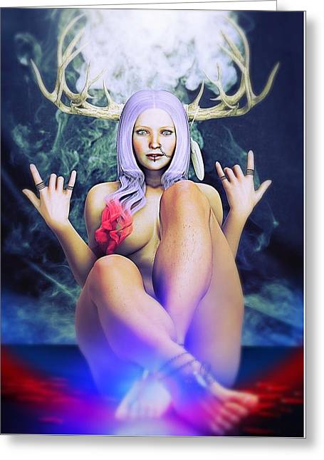 Greeting Card featuring the painting Pagan Paradise by Baroquen Krafts