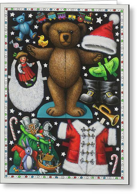 Page 1 Of 2 Teddy Bear Santa Claus Paper Doll Greeting Card