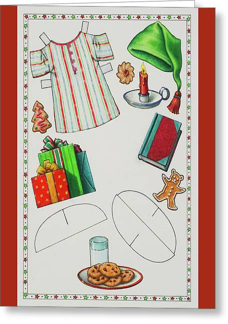 Page 2 Of 2 Teddy Bear Santa Paper Doll Greeting Card by Lynn Bywaters