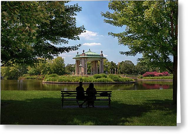 Greeting Card featuring the photograph Pagoda Circle Interlude by Susan Rissi Tregoning
