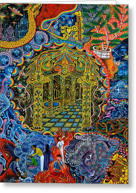 Ayahuasca Greeting Cards - Pagoda Dorada Greeting Card by Pablo Amaringo
