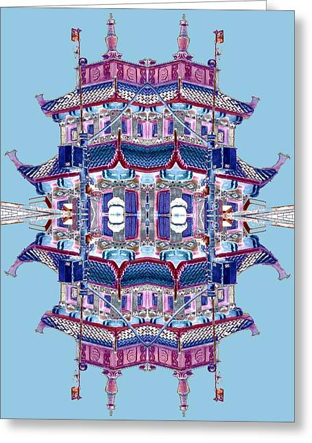 Greeting Card featuring the photograph Pagoda Tower Becomes Chinese Lantern 2 Chinatown Chicago by Marianne Dow