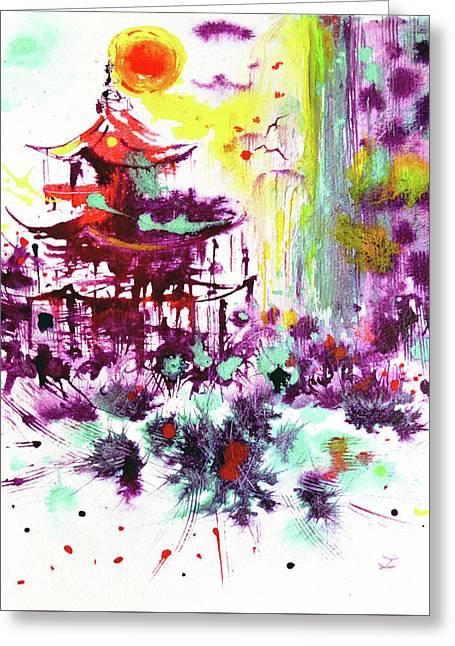 Greeting Card featuring the painting Pagoda by Zaira Dzhaubaeva