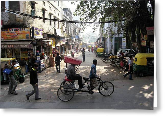 Pahar Ganj Rickshaw Greeting Card by David L Griffin