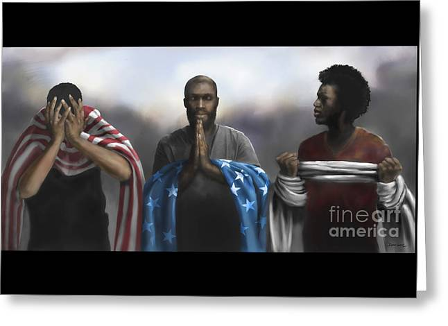 Greeting Card featuring the digital art Pain, Prayer And Perseverance by Dwayne Glapion