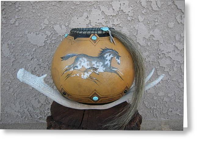 Paint Horses #go25 Greeting Card by Barbara Prestridge