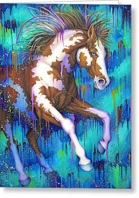 Paint Running Wild Greeting Card by Tish Wynne