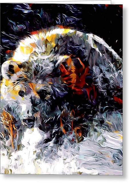 Paint Splashed Grizzly Abstract  Greeting Card by Scott Wallace