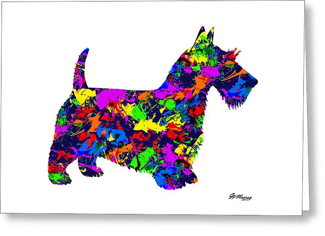 Paint Splatter Scottish Terrier Greeting Card