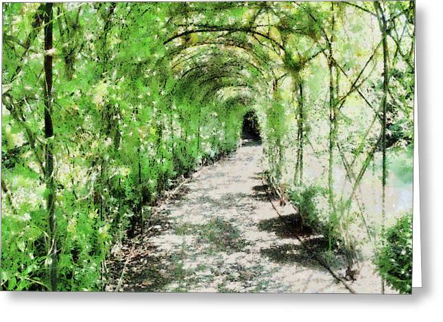 Trellis Greeting Cards - Painted Arbour Greeting Card by Ann Garrett