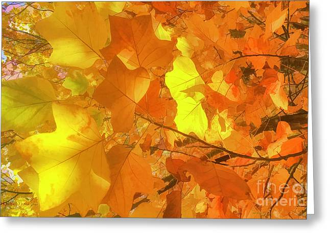 Painted Autumn Leaves Greeting Card