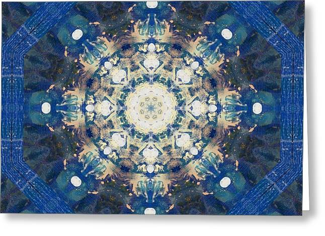 Painted Blue Mandala Flower On Canvas Greeting Card