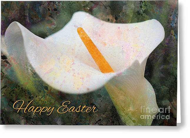 Greeting Card featuring the digital art Painted Calla Lily Easter by JH Designs