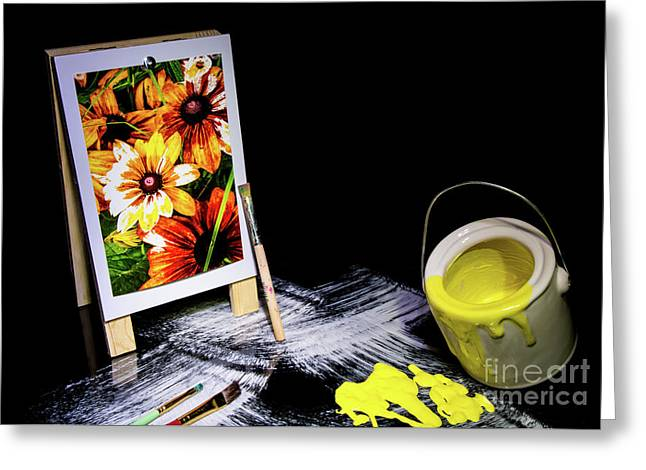Painted Canvas Greeting Card