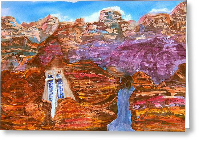 Painted Canyon Church Greeting Card by Margaret G Calenda